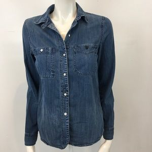 MADEWELL Blue Button Down Long Sleeve Jean Shirt